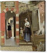 The Courtyard Of A House In Delft  Canvas Print