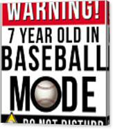 7 Year Old In Baseball Mode Canvas Print