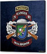 75th Ranger Regiment - Army Rangers Special Edition Over Blue Velvet Canvas Print