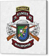 75th Ranger Regiment - Army Rangers Special Edition Over White Leather Canvas Print