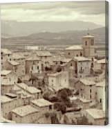 Beautiful Medieval Spanish Village In Sepia Tone Canvas Print