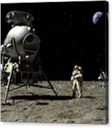 A Cosmonaut On The Moon Canvas Print