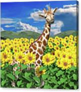 A Friendly Giraffe Hello Canvas Print