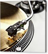 A Gold Record On A Turntable Canvas Print