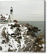 A Large Wreath Is Hung On Portland Head Canvas Print