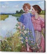 A Mother And Child By A River With Wild Roses 1919 Canvas Print