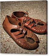 A Pair Of Roman Sandals Made Of Leather Canvas Print