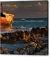 A Rusting Wreck, An Abandoned Ship Off Canvas Print