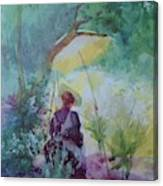 A Woman Sketching In A Glade Canvas Print