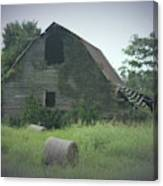 Abandoned Barn And Hay Roll 2018c Canvas Print
