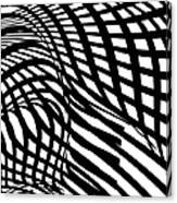 Abstract Black And White Stripe Shape Canvas Print