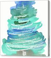 Abstract Fir Tree Christmas Watercolor Painting Canvas Print