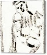 Accordion After Mikhail Larionov Black Ink Painting 1 Canvas Print