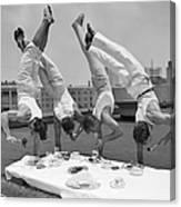 Acrobats Eat While Doing Handstands Canvas Print