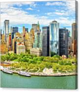 Aerial Panorama Of Downtown New York Skyline Canvas Print