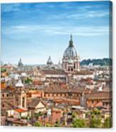 Aerial Panoramic Cityscape Of Rome Canvas Print
