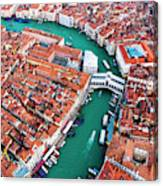 Aerial View Of Grand Canal And Rialto Bridge, Venice, Italy Canvas Print