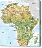 Africa Continent Map With Relief Canvas Print