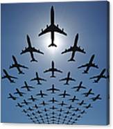 Airplane Silhouettes Fly In V Formation Canvas Print