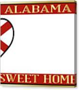 Alabama State License Plate Canvas Print