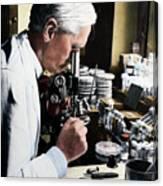 Alexander Fleming At Microscope Canvas Print