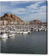 Alicante Marina And The Santa Barbara Castle Canvas Print