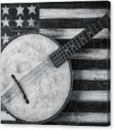 American Banjo Black And White Canvas Print