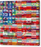 American Flags Of The World Canvas Print