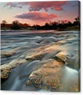 American River Parkway At Sunset Canvas Print