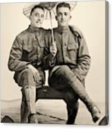 American Soldiers With A Parasol Circa 1915 Canvas Print