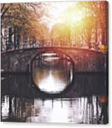 Amsterdam Cityscape With Canal Canvas Print