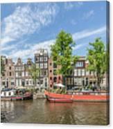 Amsterdam Prinsengracht Houseboats Canvas Print