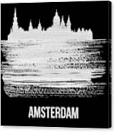 Amsterdam Skyline Brush Stroke White Canvas Print