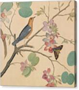 An Orange Headed Ground Thrush And A Moth On A Purple Ebony Orchid Branch, 1778 Canvas Print