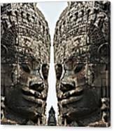 Angkor Wat, Giant Faces At Bayon Temple Canvas Print