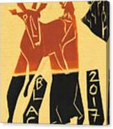 Antelope Black Ivory Woodcut9 Canvas Print