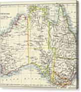 Antique Map Of Australia Canvas Print