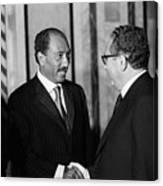 Anwar Sadat And Henry Kissinger Canvas Print