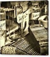 Apothecary-vintage Pill Maker Sepia Canvas Print