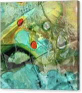 Aqua And Yellow Abstract Art - Juxtaposition - Sharon Cummings Canvas Print