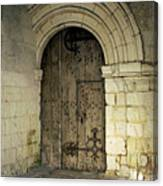 arched door at Fontevraud church Canvas Print