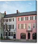 Architectural Photograph Of Rainbow Row On East Bay Street - Charleston South Carolina Canvas Print