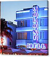 Art Deco Hotels On Ocean Drive At Dusk Canvas Print