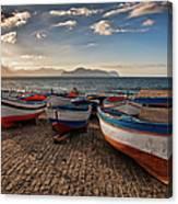 Aspra Boatyard Canvas Print