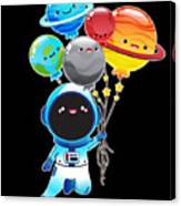 Astronaut With Planet Balloons Outta Space Canvas Print