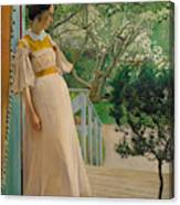At The French Windows. The Artist's Wife Canvas Print