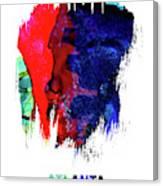 Atlanta Skyline Brush Stroke Watercolor   Canvas Print