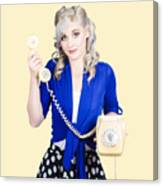 Attractive Blond Female Secretary On Vintage Phone Canvas Print
