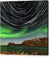 Aurora Borealis With Startrails Canvas Print