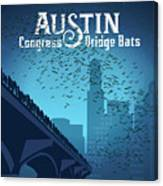 Austin Congress Bridge Bats In Blue Silhouette Canvas Print